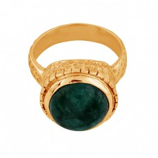 Round Shape Emerald Gemstone 925 Sterling Silver Gold Plated Ring Jewelry