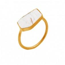 Fancy Shape Cabochon Golden Rutile Quartz Gemstone 925 Sterling Silver Gold Plated Rings