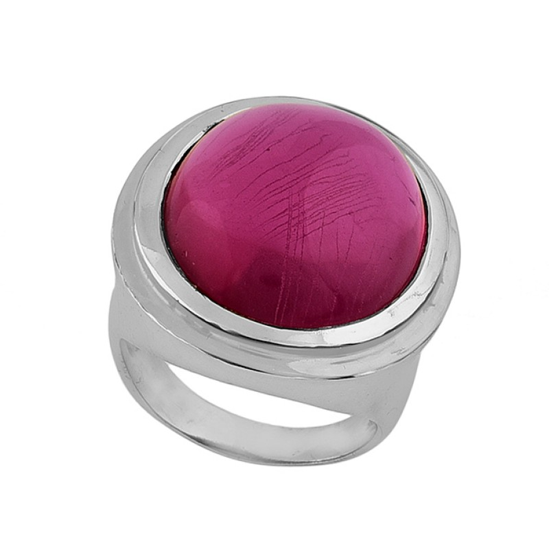 Pink Quartz Oval Shape Gemstone 925 Sterling Silver Gold Plated Ring