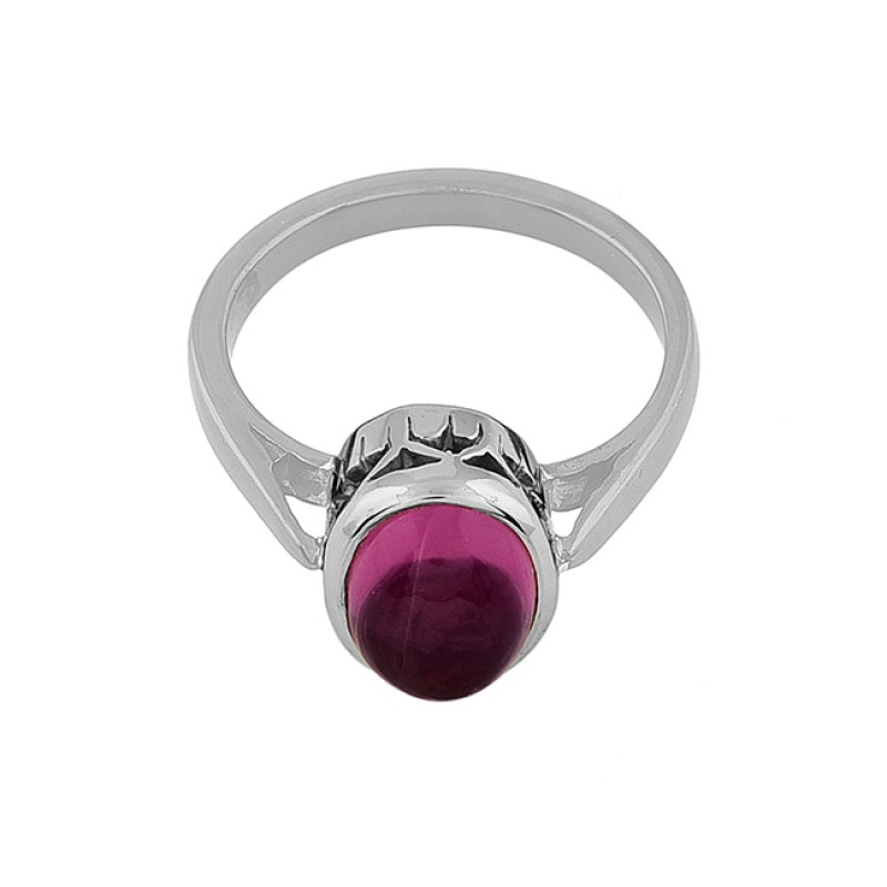 Oval Shape Pink Quartz Gemstone 925 Sterling Silver Black Rhodium Ring