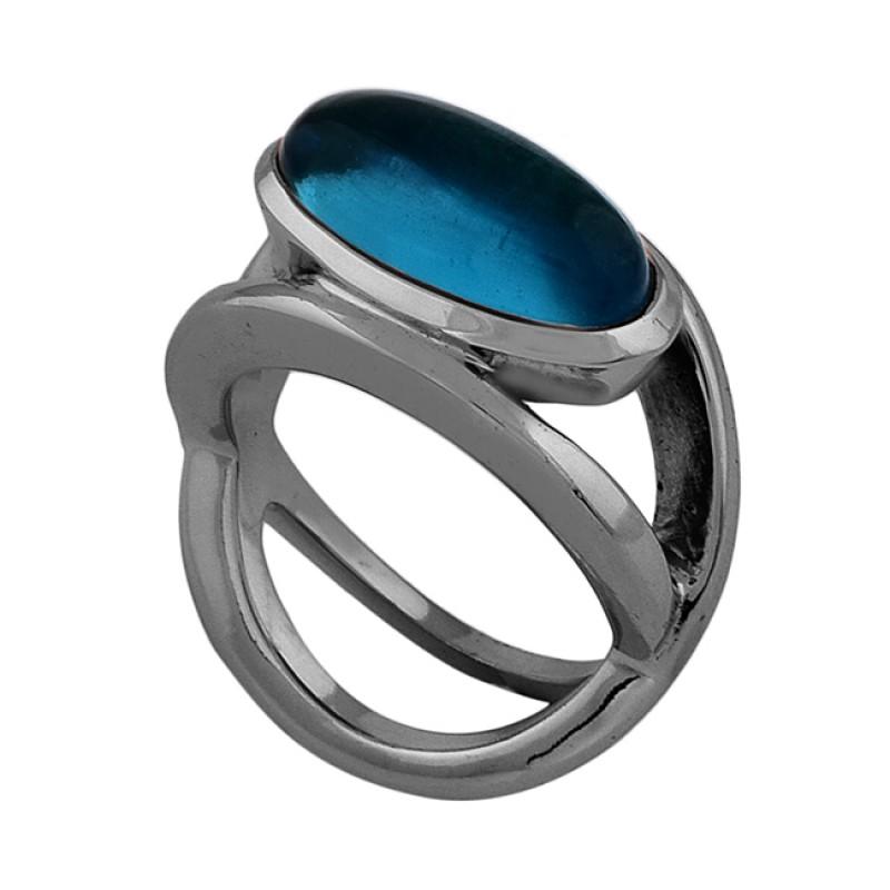 Oval Shape Tanzanite Quartz Gemstone 925 Silver Rose Gold Plated Ring