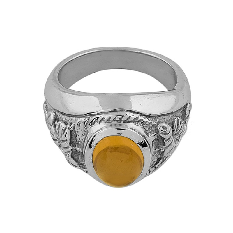 925 Sterling Silver Oval Shape Citrine Gemstone Gold Plated Ring Jewelry