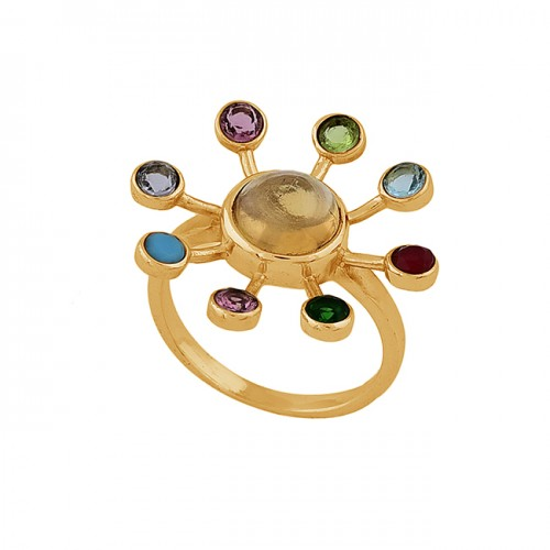 Round Shape Multi Color Gemstone 925 Sterling Silver Gold Plated Ring