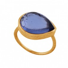 Pear Shape Tanzanite Quartz Gemstone 925 Silver Rose Gold Plated Ring