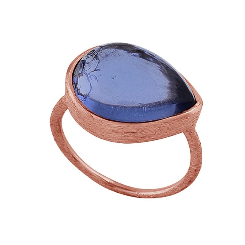Pear Shape Tanzanite Quartz Gemstone 925 Silver Rose Gold Plated Ring