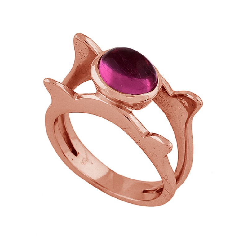 Oval Shape Pink Quartz Gemstone 925 Sterling Silver Rose Gold Plated Ring