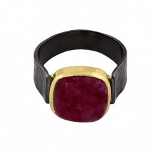 Square Shape Ruby Gemstone 925 Sterling Silver Black Rhodium Ring