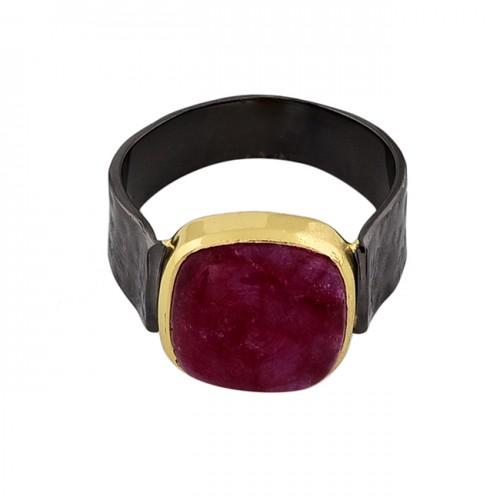 Square Shape Ruby Gemstone 925 Sterling Silver Black Rhodium Ring