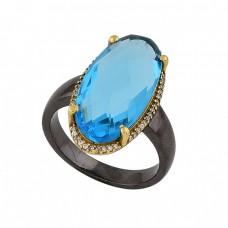 Oval Shape Tanzanite Quartz Gemstone 925 Silver Black Rhodium Ring