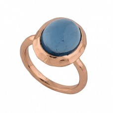 925 Sterling Silver Oval Shape Tanzanite Quartz Gemstone Rose Gold Plated Ring