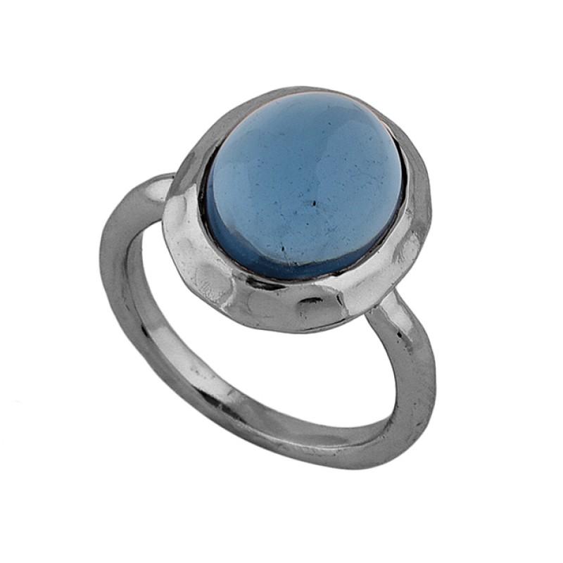 925 Sterling Silver Oval Shape Tanzanite Quartz Gemstone Rose Gold Plated Ring