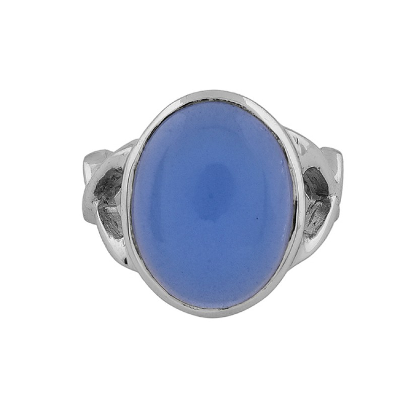 Oval Shape Blue Chalcedony Gemstone 925 Sterling Silver Gold Plated Ring