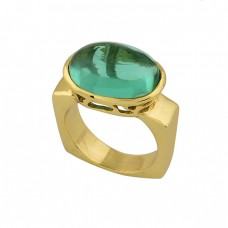 Apatite Quartz Oval Shape Gemstone 925 Sterling Silver Gold Plated Ring