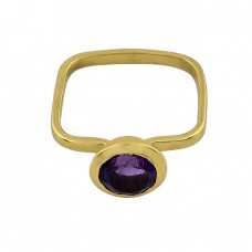 Round Shape Amethyst Gemstone 925 Sterlig Silver Gold Plated Ring