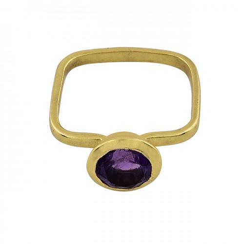 Round Shape Amethyst Gemstone 925 Sterlig Silver Gold Plated Ring
