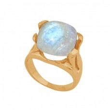 Square Shape Rainbow Moonstone 925 Sterling Silver Black Rhodium Ring