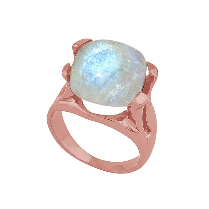 Square Shape Rainbow Moonstone 925 Sterling Silver Black Rhodium Ring