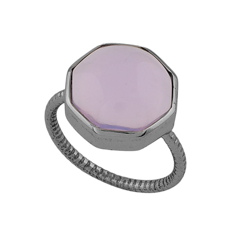 Six Corner Shape Rose Chalcedony Gemstone 925 Sterling Silver Gold Plated Ring