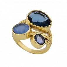 Blue Quartz Chalcedony Gemstone 925 Sterling Silver Gold Plated Ring