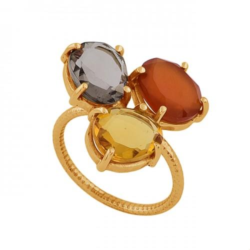 Smoky Quartz Citrine Carnelian Gemstone 925 Silver Gold Plated Ring