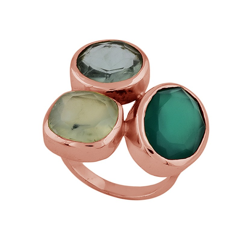 Blue Topaz Chalcedony Green Onyx Gemstone 925 Silver Gold Plated Ring