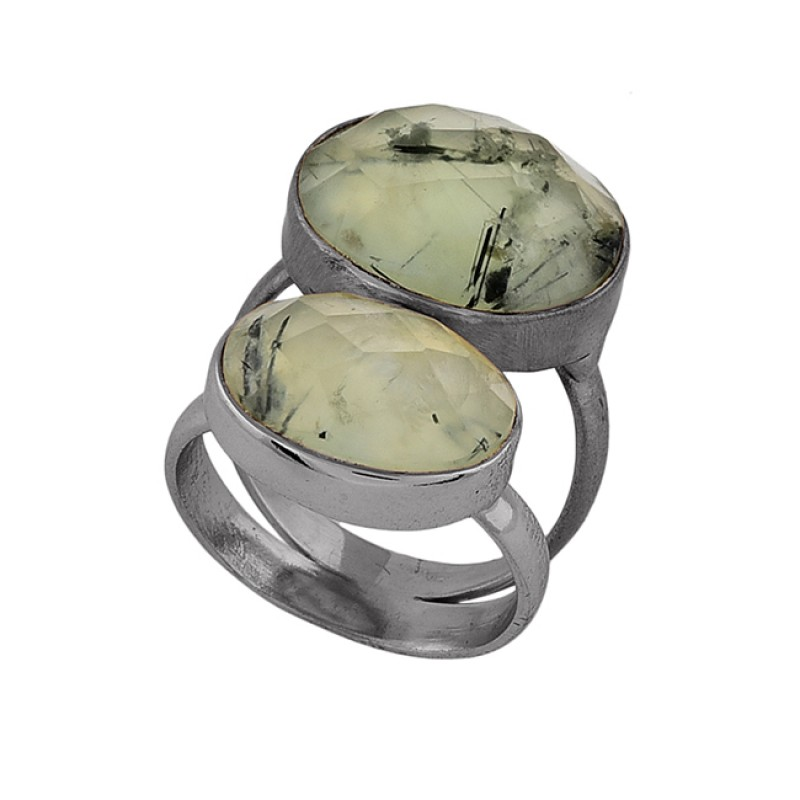 Oval Shape Prehnite Chalcedony Gemstone 925 Silver Gold Plated Ring