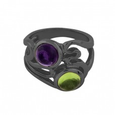 Amethyst Peridot Gemstone 925 Sterling Silver Black Rhodium Ring Jewelry