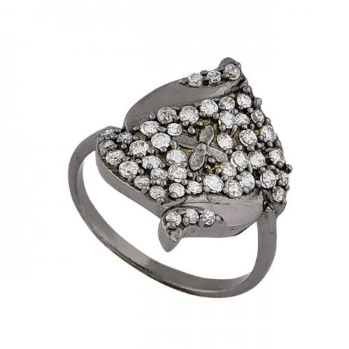 Round Shape Cubic Zirconia Gemstone 925 Silver Black Rhodium Ring