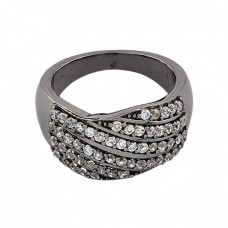 Pave Cubic Zirconia Gemstone 925 Sterling Silver Black Rhodium Cocktail Ring