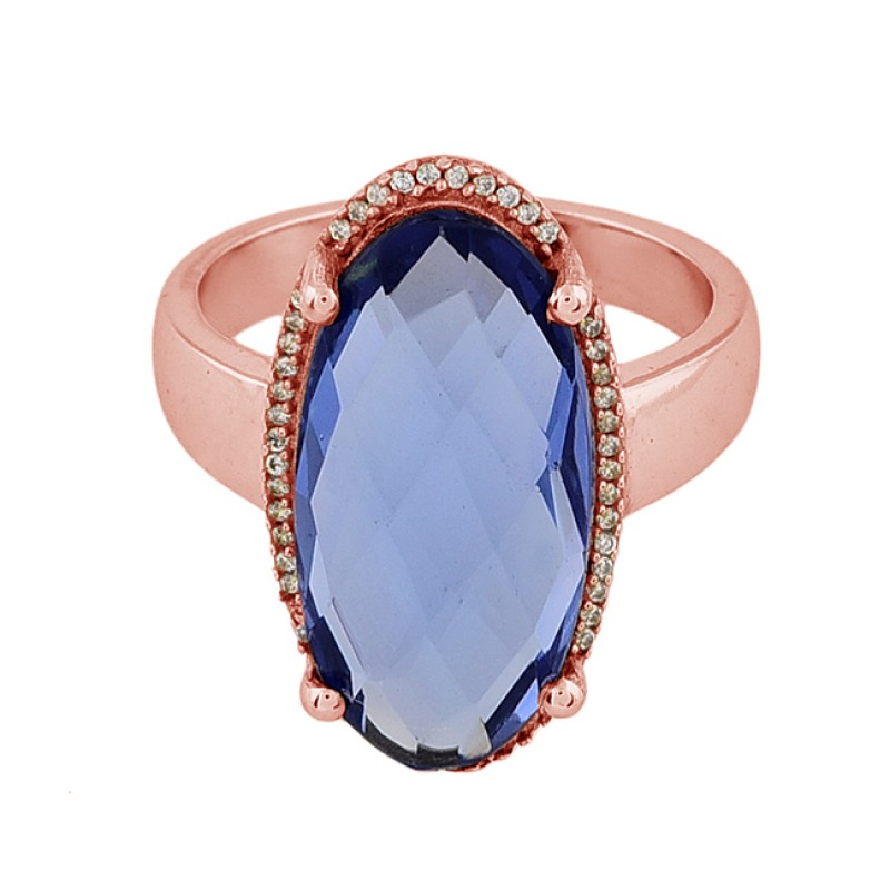 Oval Shape Tanzanite Quartz 925 Sterling Silver Gold Plated Ring Jewelry