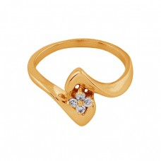 925 Sterling Silver Round Shape Cz Gemstone Gold Plated Ring Jewelry