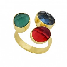 925 Sterling Silver Oval Shape Gemstone Gold Plated Ring Jewelry