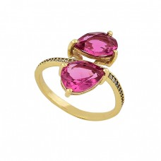 Faceted Pear Shape Pink Quartz Gemstone 925 Silver Gold Plated Ring Jewelry