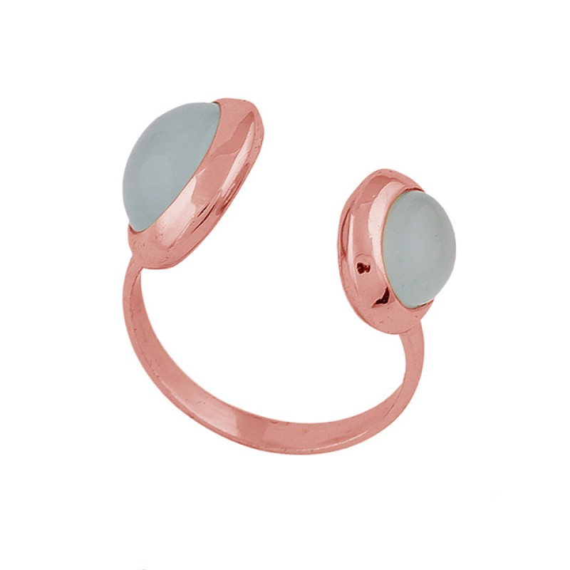 Round Shape Aqua Chalcedony Gemstone 925 Silver Gold Plated Ring