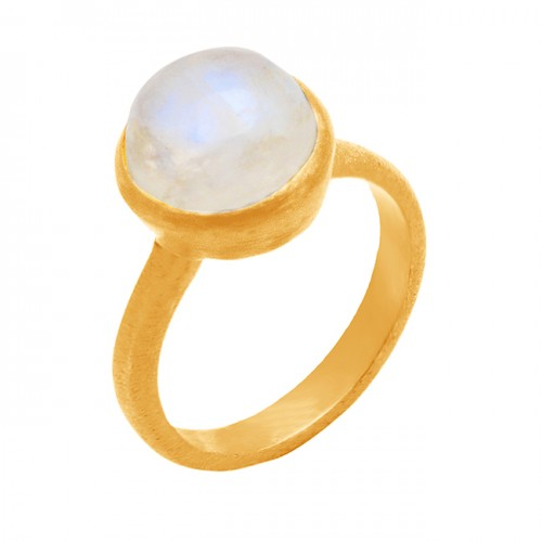 Rainbow Moonstone Round Cabochon Gemstone 925 Sterling Silver Gold Plated Jewelry Ring