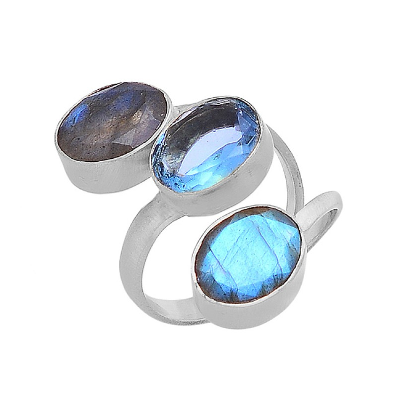 Oval Shape Labradorite Blue Topaz Gemstone 925 Silver Gold Plated Ring