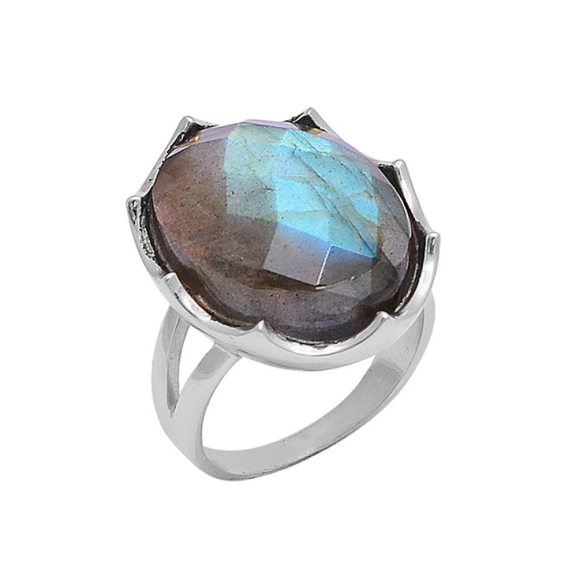Oval Shape Labradorite Gemstone 925 Silver Gold Plated Ring Jewelry