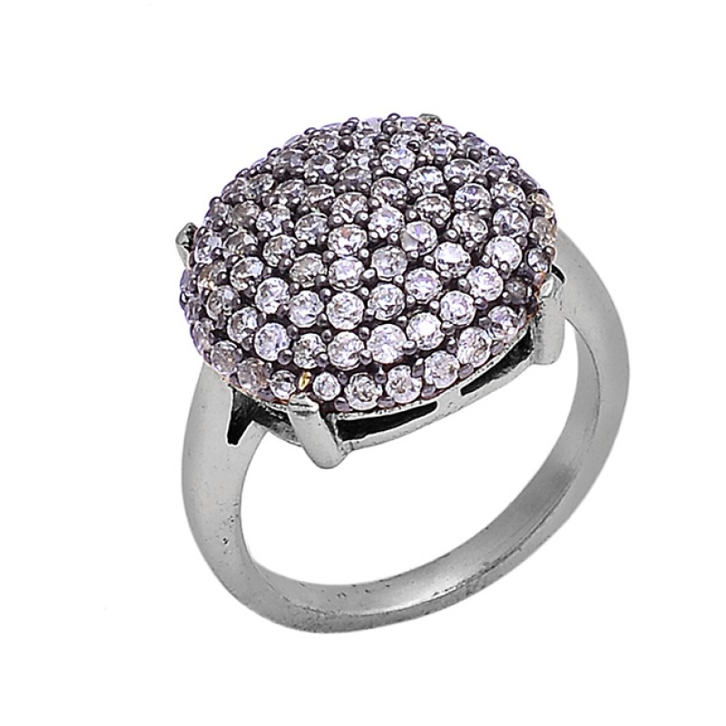 Round Shape Pave Cz Gemstone 925 Sterling Silver Gold Plated Ring Jewelry