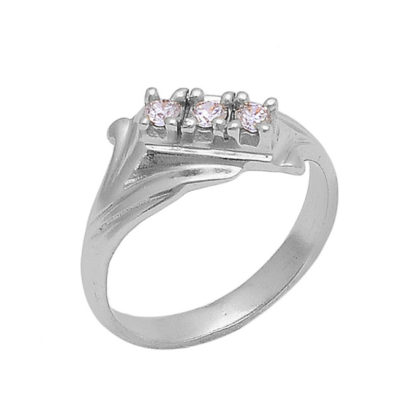 Faceted Round Shape Cubic Zirconia Gemstone 925 Silver Gold Plated Ring