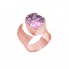 925 Sterling Silver Amethyst Rough Gemstone Rose Gold Plated Ring Jewelry