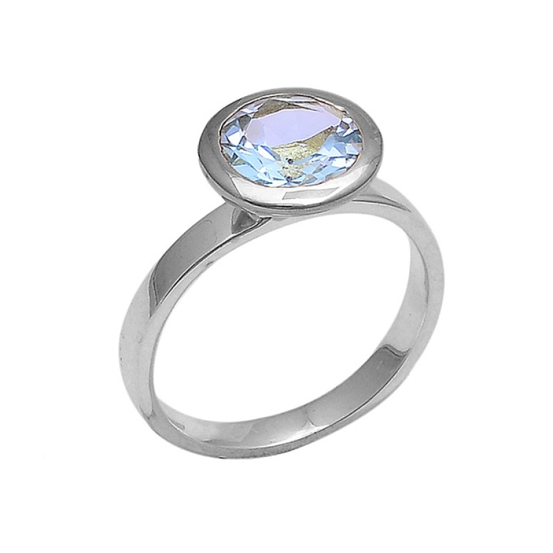 Round Shape Blue Topaz Gemstone 925 Sterling Silver Gold Plated Ring