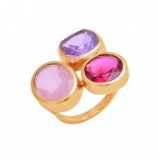 Amethyst Chalcedony Pink Quartz Gemstone 925 Sterling Silver Ring