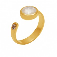Round Shape Rainbow Moonstone Cubic Zirconia Gemstone 925 Sterling Silver Gold Plated Rings