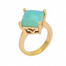 925 Sterling Silver Square Shape Chalcedony Gemstone Gold Plated Ring