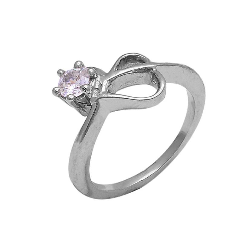 925 Sterling Silver Round Shape Cz Gemstone Designer Ring Jewelry
