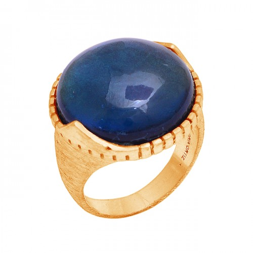 Cabochon Round Shape Gemstone 925 Sterling Silver Rose Gold Plated Ring