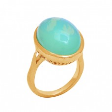 Oval Cabochon Moonstone 925 Sterling Silver Gold Plated Ring Jewelry