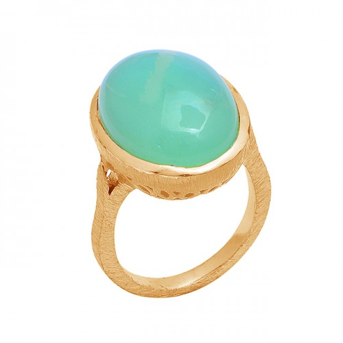 925 Sterling Silver Oval Shape Moonstone Gold Plated Ring Jewelry