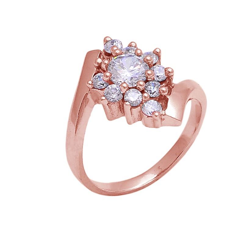 925 Sterling Silver Round Shape Cz Gemstone Band Designer Ring Jewelry