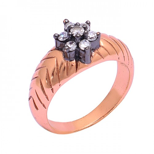 Prong Setting Round Shape Cz Gemstone 925 Silver Rose Gold Plated Ring Jewelry
